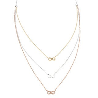 La Preciosa Sterling Silver Tri-color 3-strand Cubic Zirconia Infinity Necklace