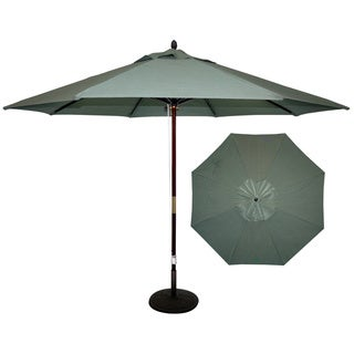 "TropiShade 11"" Dark Wood Mkt Umbrella, 4 pulley, brass trim"