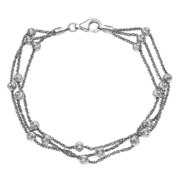 La Preciosa Sterling Silver Multi-strand Diamond-cut Bead Bracelet