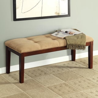 Colyton Almond Brown Tufted Microsuede Bench