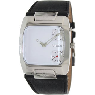 Nixon Men's Banks Leather A086100-00 Black Leather Quartz Watch with White Dial