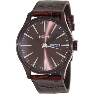 Nixon Men's Sentry Leather A105471-00 Brown Leather Quartz Watch with Brown Dial