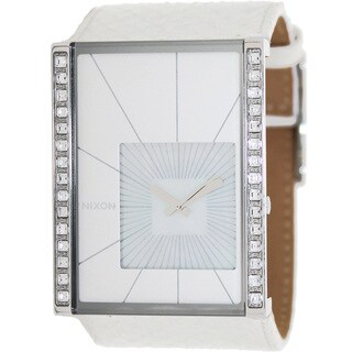 Nixon Women's Motif A025710-00 White Lizard Leather Quartz Watch with Mother-Of-Pearl Dial