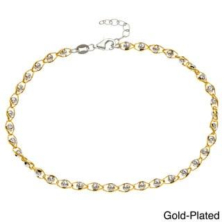 La Preciosa Silver Diamond-cut 'Moonbeads' Anklet