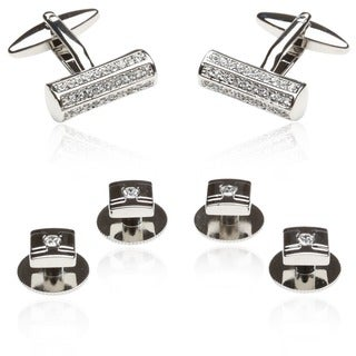 Silvertone Clear Crystal Bar Formal Cuff Link and Stud Jewelry Set