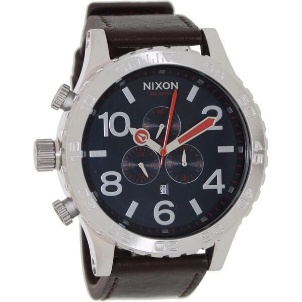 Nixon Men's Brown Leather Strap Chronograph Watch
