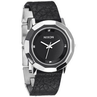 Nixon Women's Bobbi A341000-00 Black Leather Quartz Watch with Black Dial