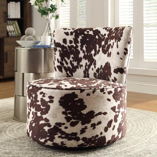 INSPIRE Q Damen Cow Hide Print Modern Round Swivel Chair ...