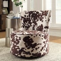 Inspire Q Moda Cow Hide Print Modern Round Swivel Chair