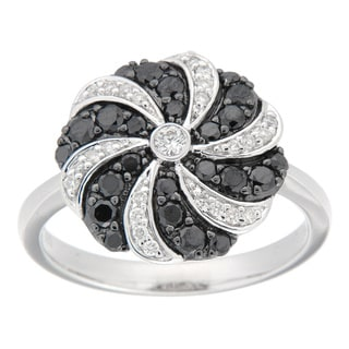 D'sire Silver 3/4ct TDW Black/ White Diamond Floral Ring (I, SI1-SI2)