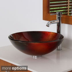 ELITE 7006F371023 Illusion Design Tempered Glass Bathroom Vessel Sink With Faucet Combo