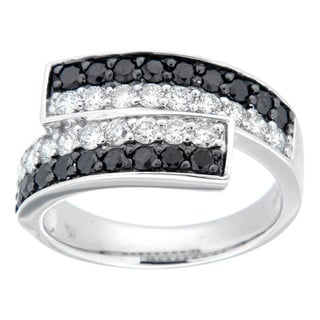 D'sire Silver 1 1/10ct TDW Black and White Diamond Twist Ring (I, SI1-SI2)