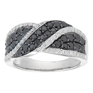 D'sire Sterling Silver 1ct TDW Black and White Diamond Ring (I, SI1-SI2)