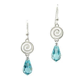 Jewelry by Dawn Silver Plated Swirl Light Turquoise Crystal Drop Earrings