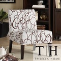 Modern Brown Scroll Print Upholstered Lounge Chair