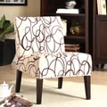 Tribecca Home Modern Brown Scroll Print Upholstered Lounge Chair