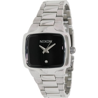 Nixon Men's Player A300000-00 Silver Stainless-Steel Quartz Watch with Black Dial