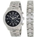 Marc Ecko Men's Saber Stainless Steel Black Dial Swiss Quartz Watch