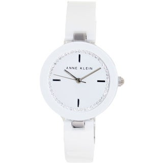 Anne Klein Women's 'AK-1315WTWT' White Ceramic White Dial Quartz Watch