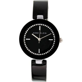 Anne Klein Women's 'AK-1315BKBK' Black Ceramic Black Dial Quartz Watch