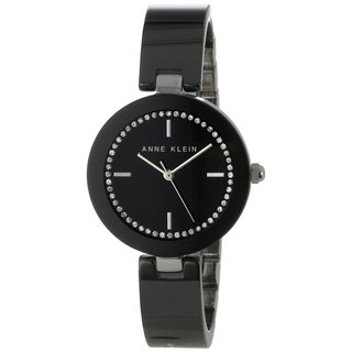 Anne Klein Women's 'AK-1315BKBK' Black Ceramic Black Dial Quartz Watch