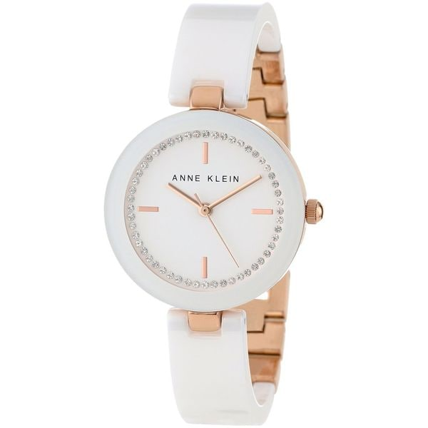 Anne Klein Women's AK-1314RGWT White Ceramic Quartz Watch