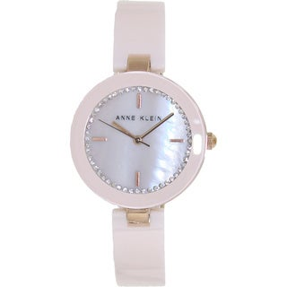 Anne Klein Women's 'AK-1314RGLP' Pink Ceramic Mother-of-Pearl Dial Quartz Watch