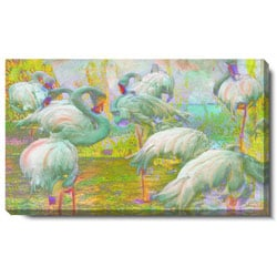 Studio Works Modern 'White Flamingos' Gallery Wrapped Canvas