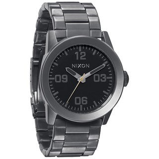 Nixon Men's Private SS Grey Stainless Steel Black Dial Quartz Watch