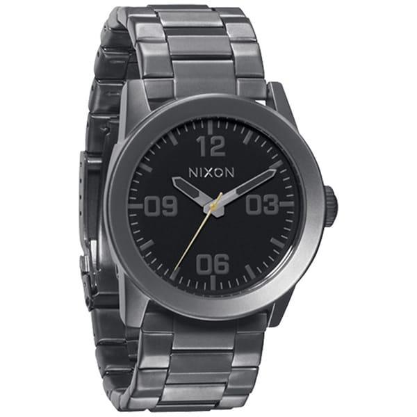 Nixon Men's Private SS Grey Stainless Steel Black Dial Quartz Watch
