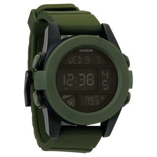 Nixon Men's Unit Green Silicone Digital Dial Quartz Watch