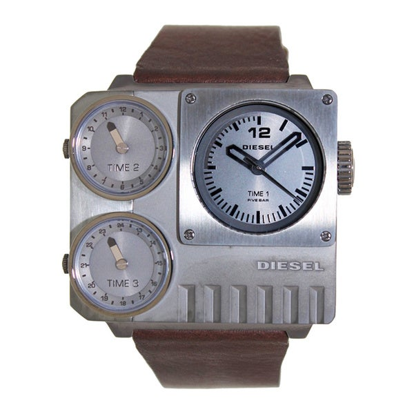 Diesel Men's Brown Leather Grey Dial Quartz Watch