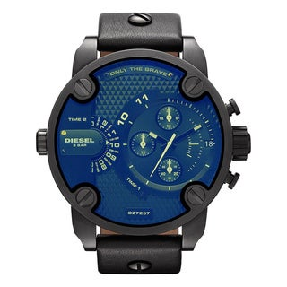 Diesel Men's Black Leather Blue Dial Analog Quartz Watch