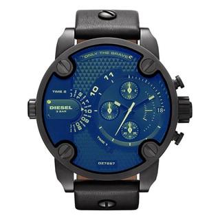 Diesel Men's Black Leather Blue Dial Analog Quartz Watch