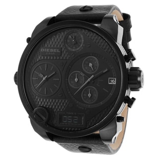 Diesel Men's DZ7193 Black Leather Quartz Watch with Black Dial