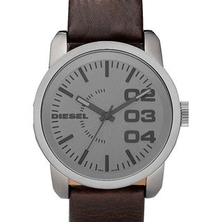 Diesel Men's Brown Calf Skin Grey Dial Quartz Watch