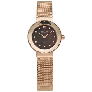 Skagen Women's Rose Gold Steel Mother of Pearl Dial Quartz Watch