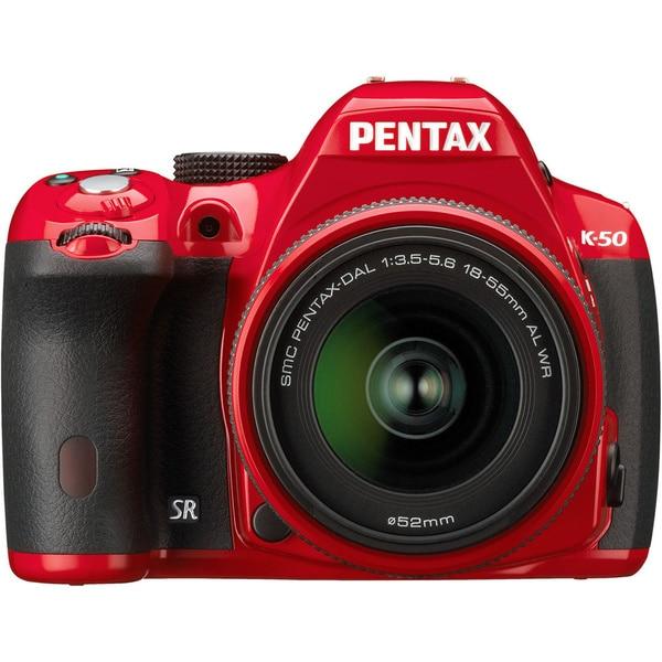 Pentax K-50 16.3MP Red Digital SLR Camera with DA 18-55mm AL WR Lens