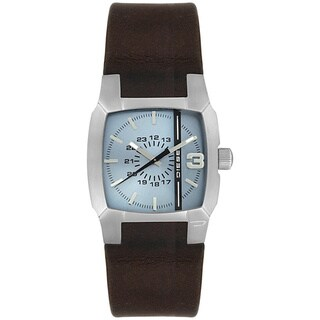 Diesel Men's Black Leather Blue Dial Quartz Watch