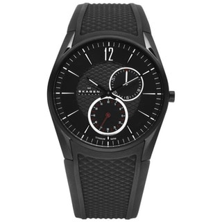 Skagen Men's 435XXLTBRB Black Silicone Quartz Watch with Black Dial