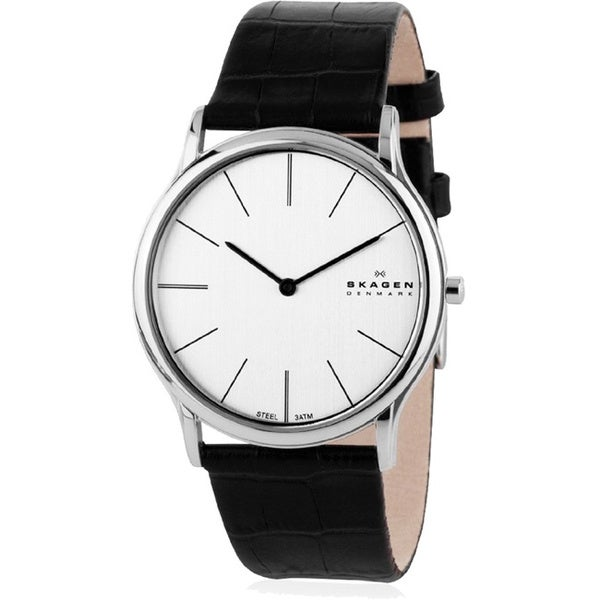 Skagen Men's 858XLSLC Black Leather Quartz Watch with White Dial