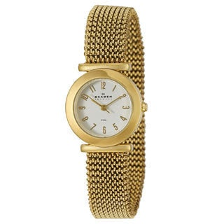 Skagen Women's Classic 107SGG1 Gold Stainless-Steel Quartz Watch with White Dial