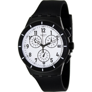 Swatch Men's Originals SUSB401 Black Rubber Swiss Quartz Watch with White Dial