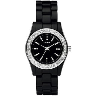 DKNY Women's NY8146 Black Plastic Quartz Watch with Black Dial