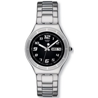Swatch Men's Irony YGS740G Silver Stainless-Steel Quartz Watch with Black Dial