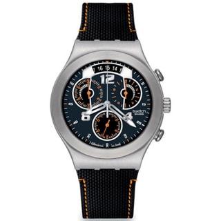 Swatch Men's Irony YCS514 Black Rubber Quartz Watch with Blue Dial
