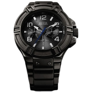 Guess Men's U0041G1 Black Stainless-Steel Quartz Watch with Black Dial
