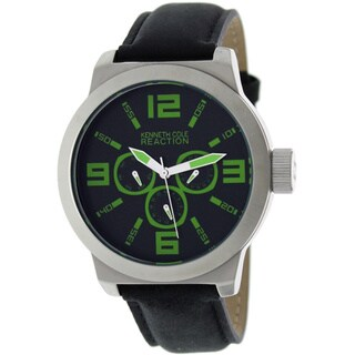 Kenneth Cole Men's Reaction RK1266 Black Calf Skin Quartz Watch with Black Dial