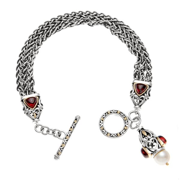 Sterling Silver Mozambique Garnet and FW Pearl Bracelet (8 mm)