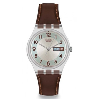 Swatch Men's Originals GE704 Brown Leather Quartz Watch with White Dial